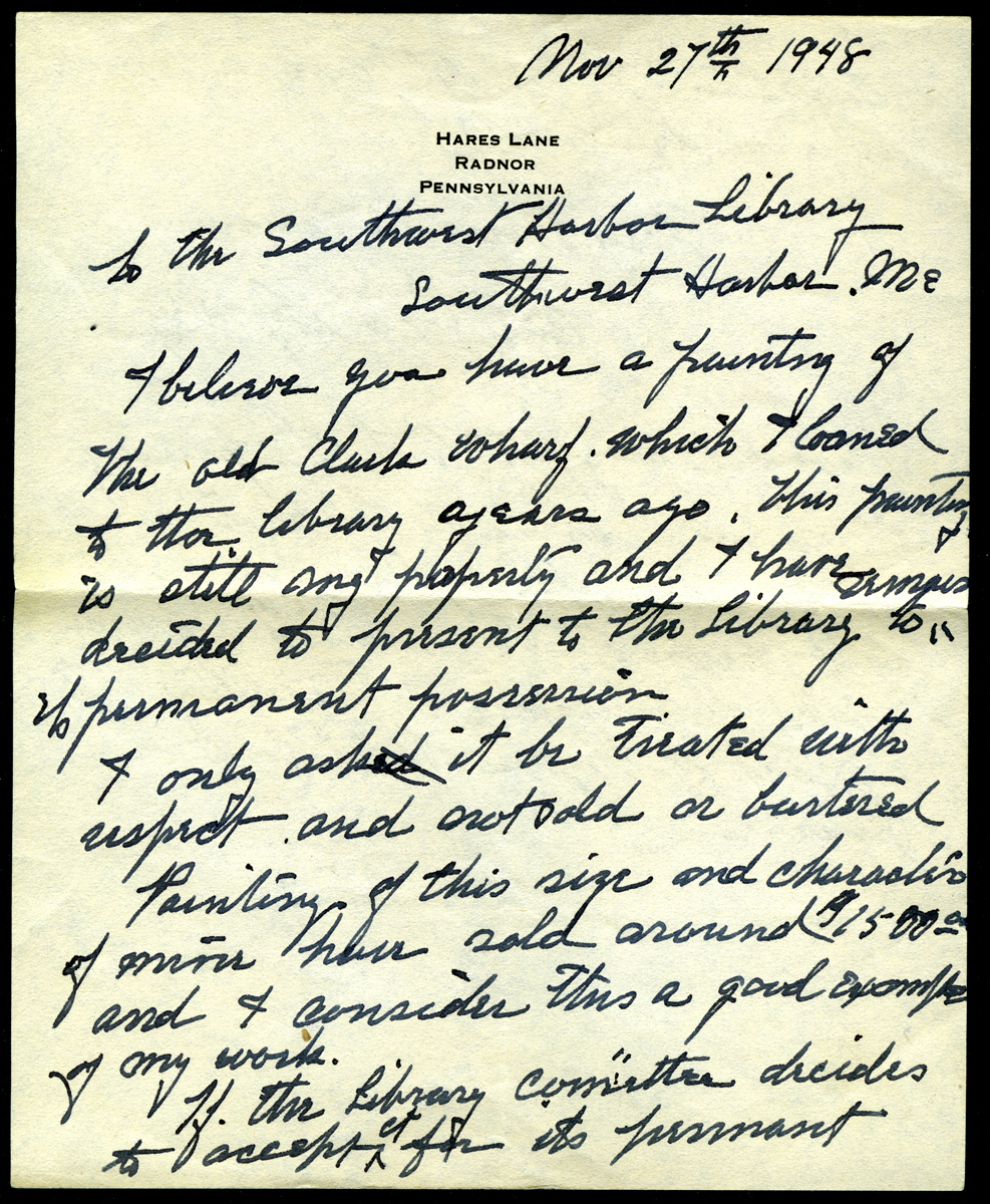 Letter to the Southwest Harbor Public Library from Charles Morris Young