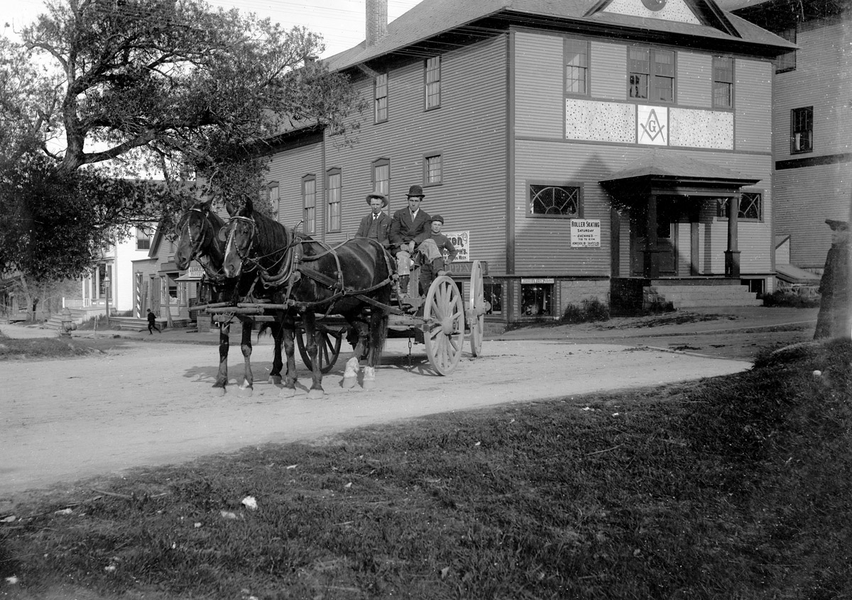 The First Masonic Hall, Southwest Harbor, Maine, with Horse and Buggy