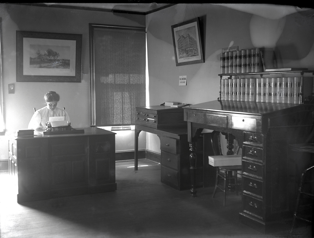Jessie C. Lawton Typing at the Seth W. Norwood Law Office in the First Odd Fellows Building, Southwest Harbor