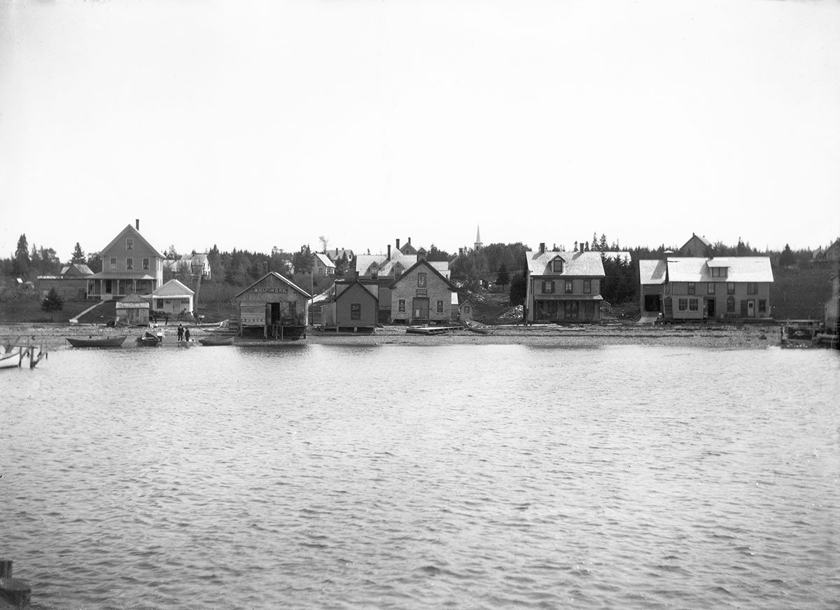 Buildings on Shore Road, Manset, from Water