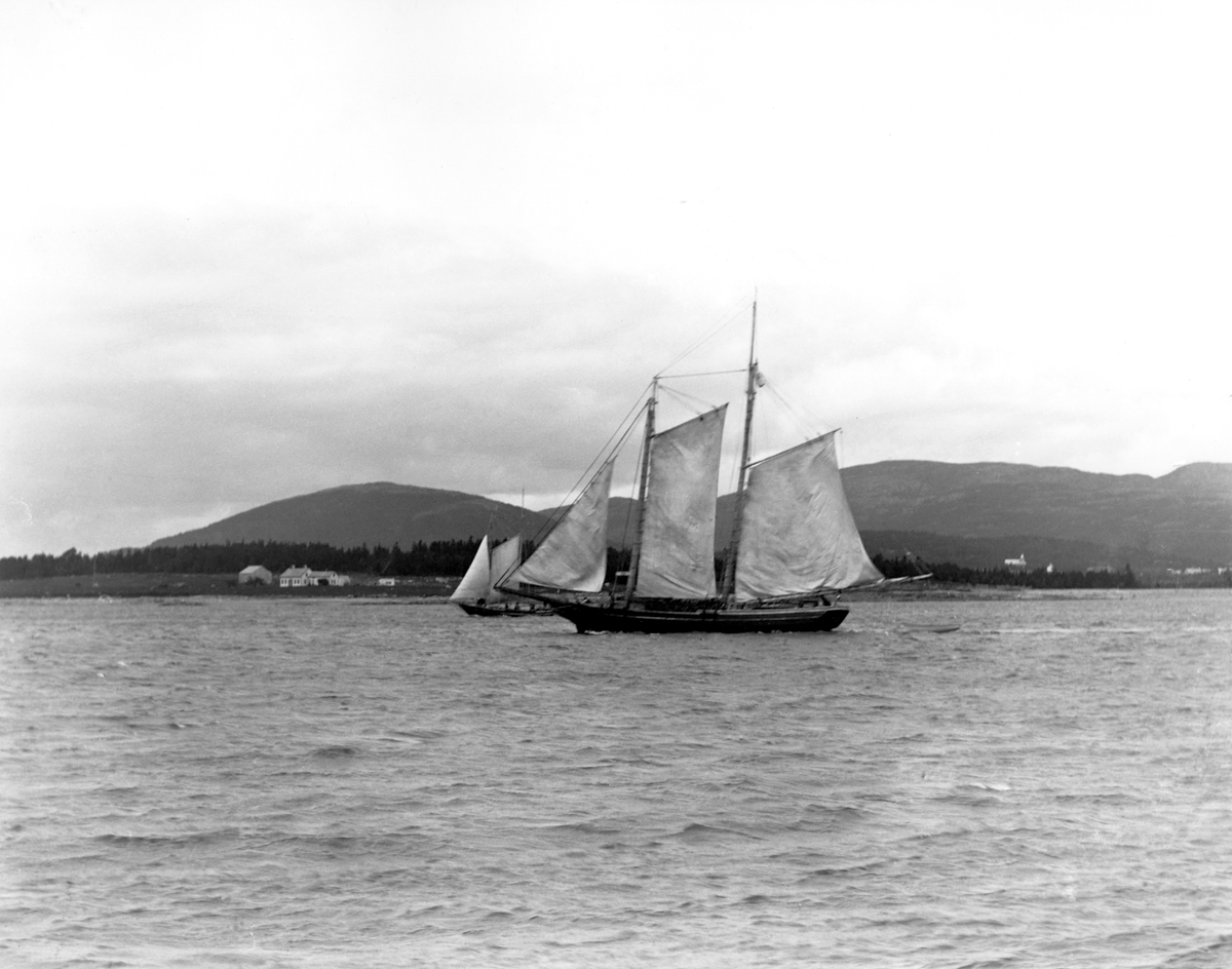 Two Masted Schooner Coming in to Southwest Harbor