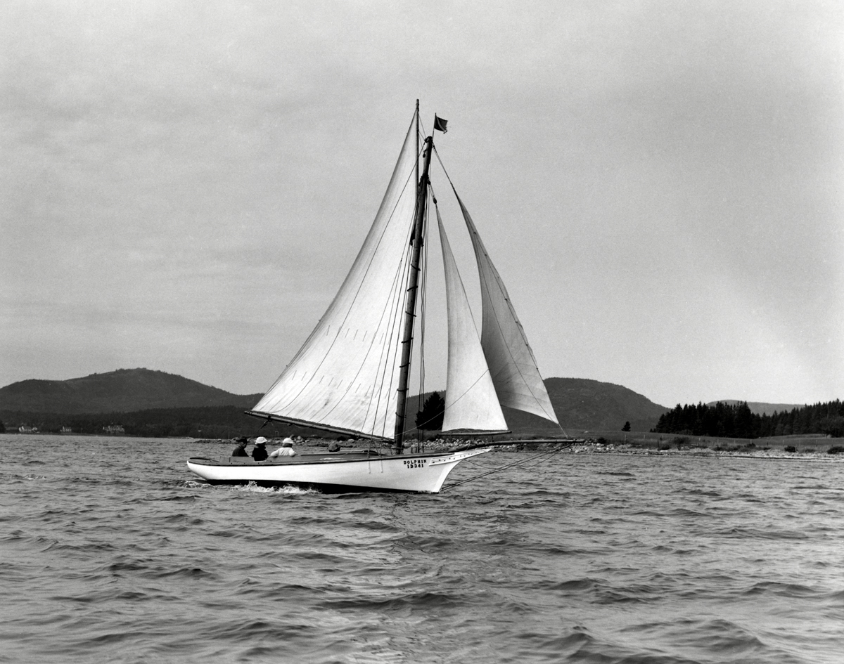 The Wellington Family and Archie Spurling Sailing in Friendship Sloop Dolphin Off Greening Island