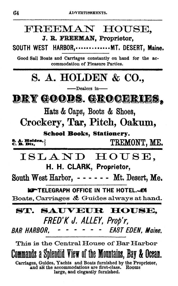 Advertisement for Freeman House, S.A. Holden, Island House & St. Sauveur House