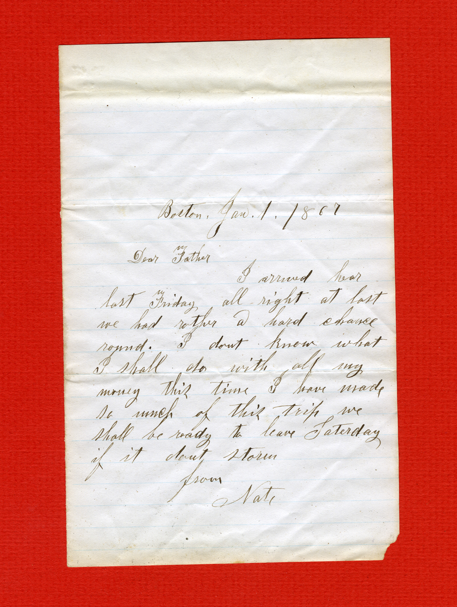 Letter Written by Nathan Clark III to His Father, Seth Higgins Clark
