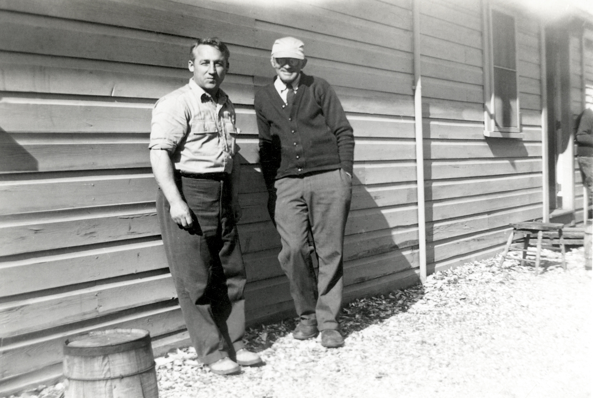 Henry Bucknam Wass and Charles Henry Rich at Machiasport Canning Company, C.H. Rich Wharf, McKinley