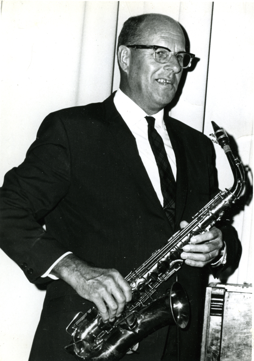 Charles E. Charlie Wakefield with his Saxophone