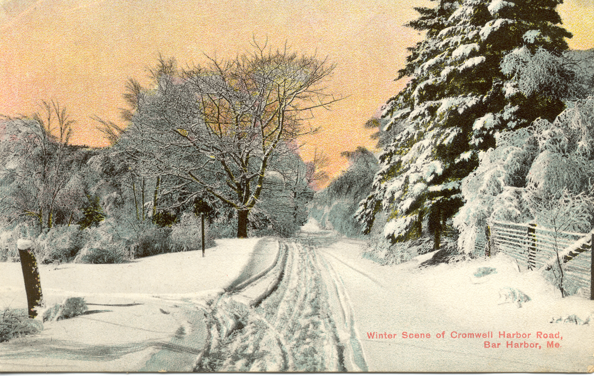 Winter Scene of Cromwell Harbor Road, Bar Harbor