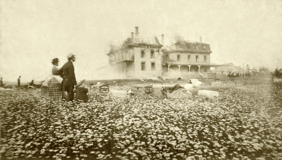 The Original, Enlarged Stanley House Burning on July 10, 1884