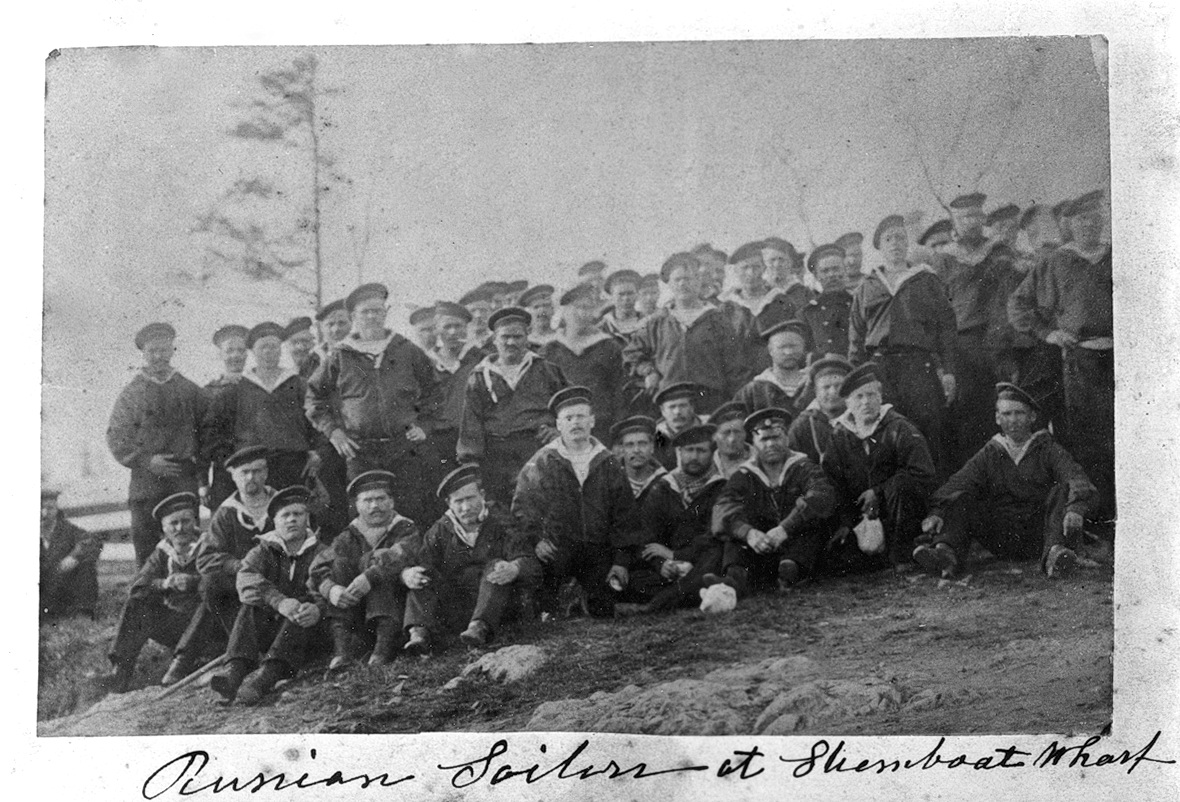 Crew of Russian Sailors from the S.S. Cimbria at Steamship Wharf in Southwest Harbor