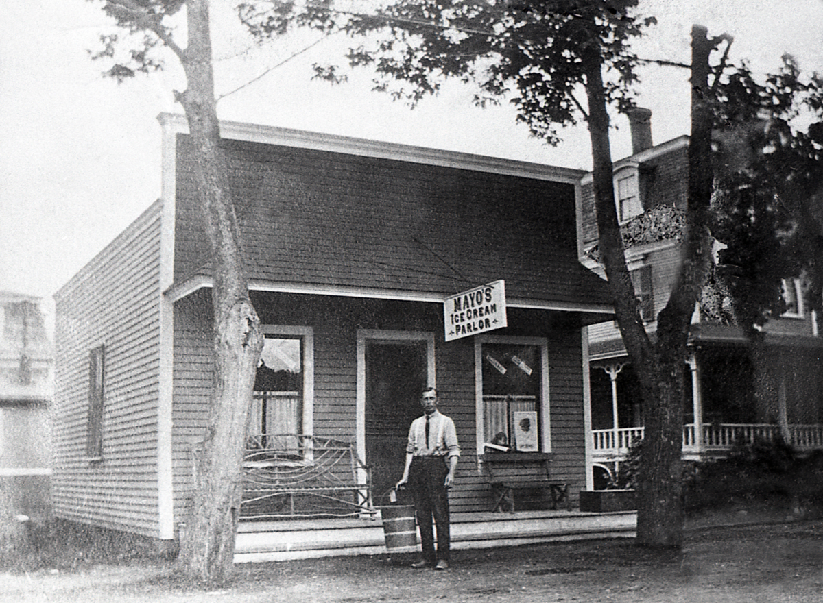 Fred Sidney Mayo on Steps of Mayo's Ice Cream Parlor
