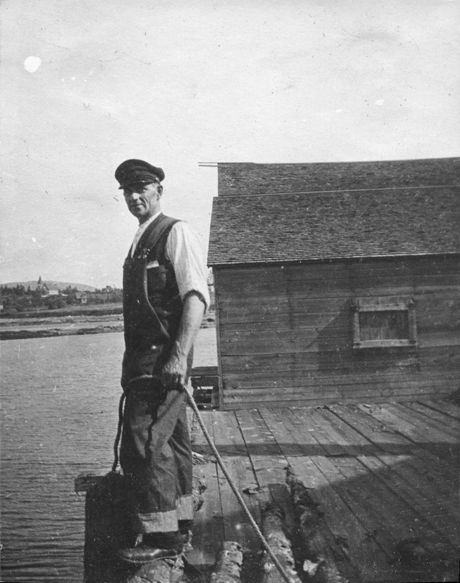 Simeon Holden Mayo on the Wharf at his Boat Shop