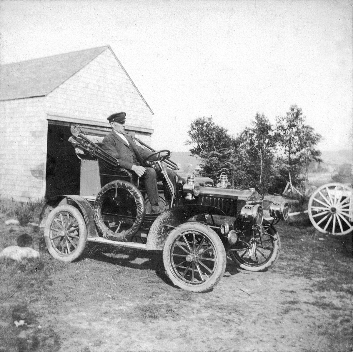 Simeon Holden Mayo at the Wheel of his 1907 Maxwell Automobile