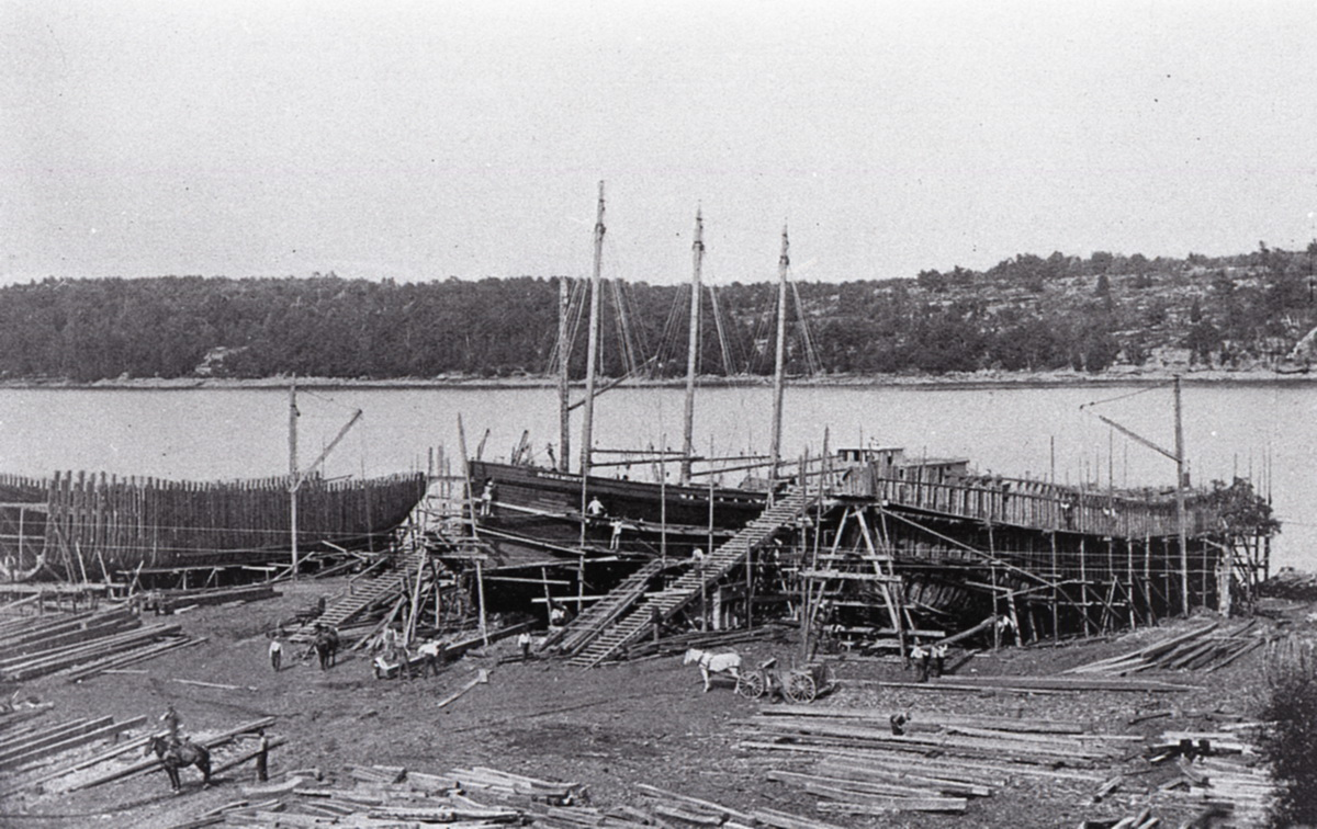 Schooner Barge Rosemont Under Construction with Two Other Vessels at Bath, Maine