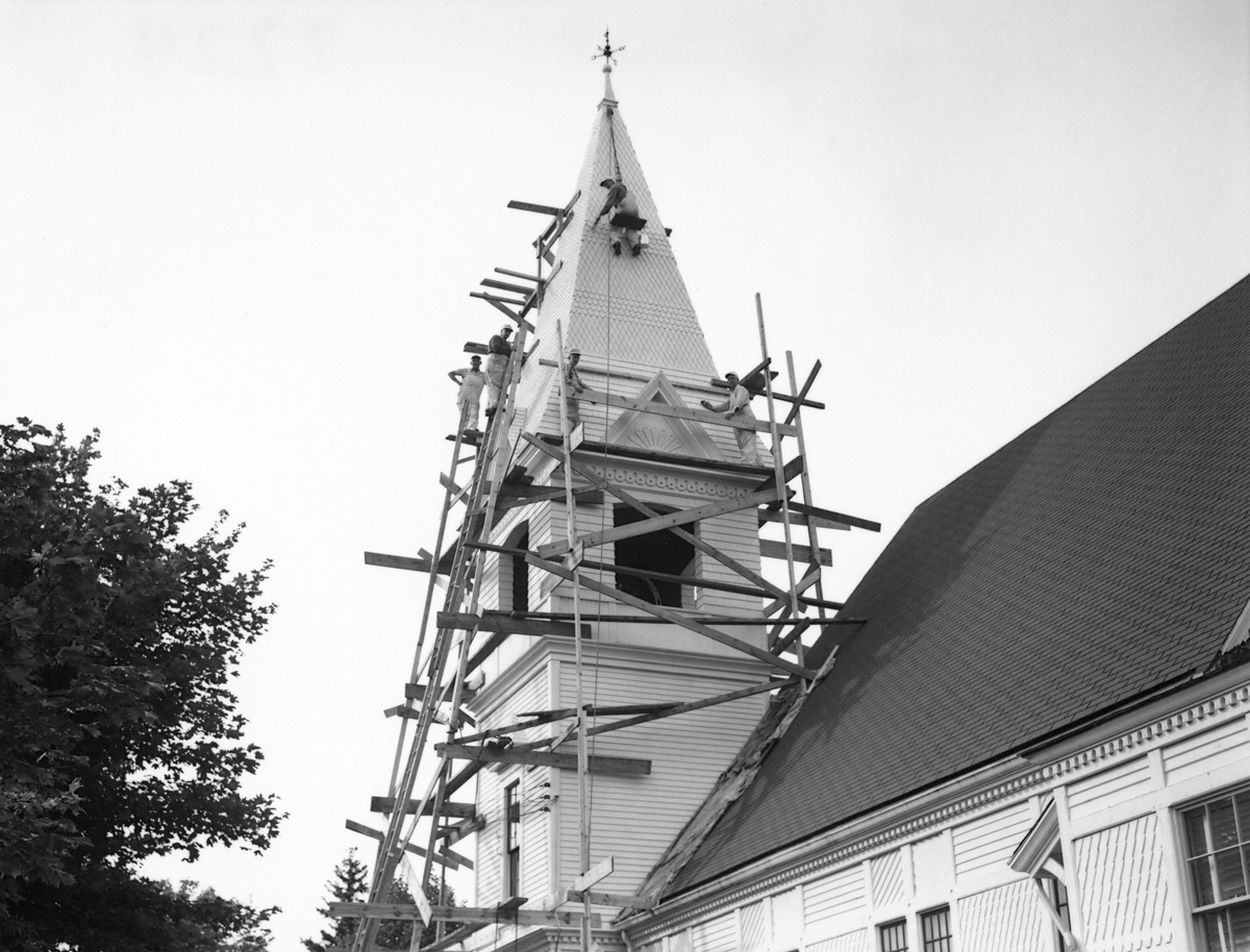 The Lawler Paint Company Painting the Steeple of the Southwest Harbor Congregational Church