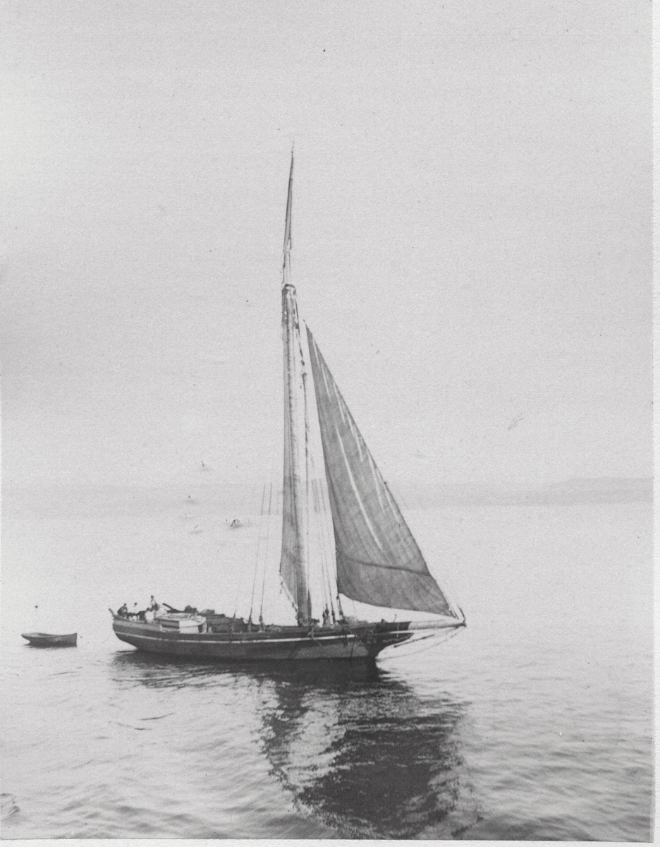 View of Unknown Boat from Deck of Sidewheel Steamer Mount Desert