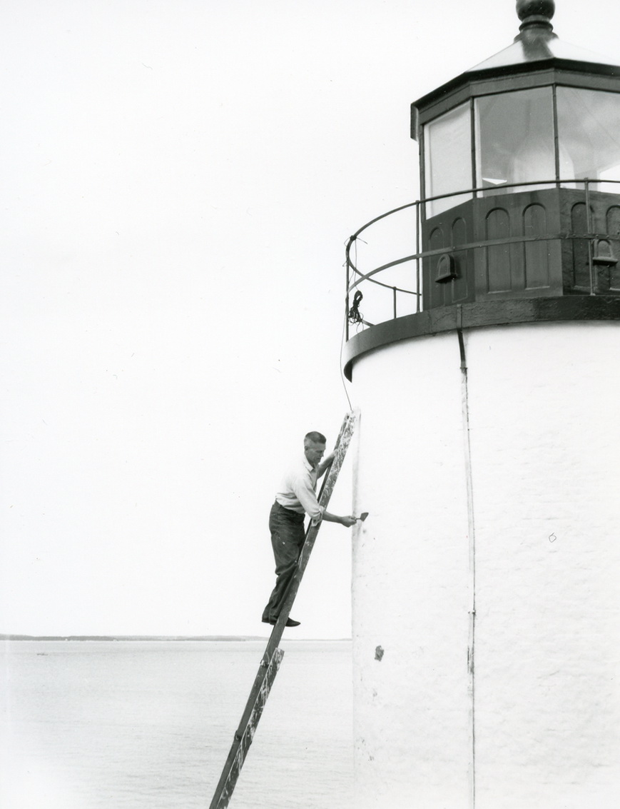 Keeper Leverett Sherman Stanley Painting the Tower at Bass Harbor Head Light