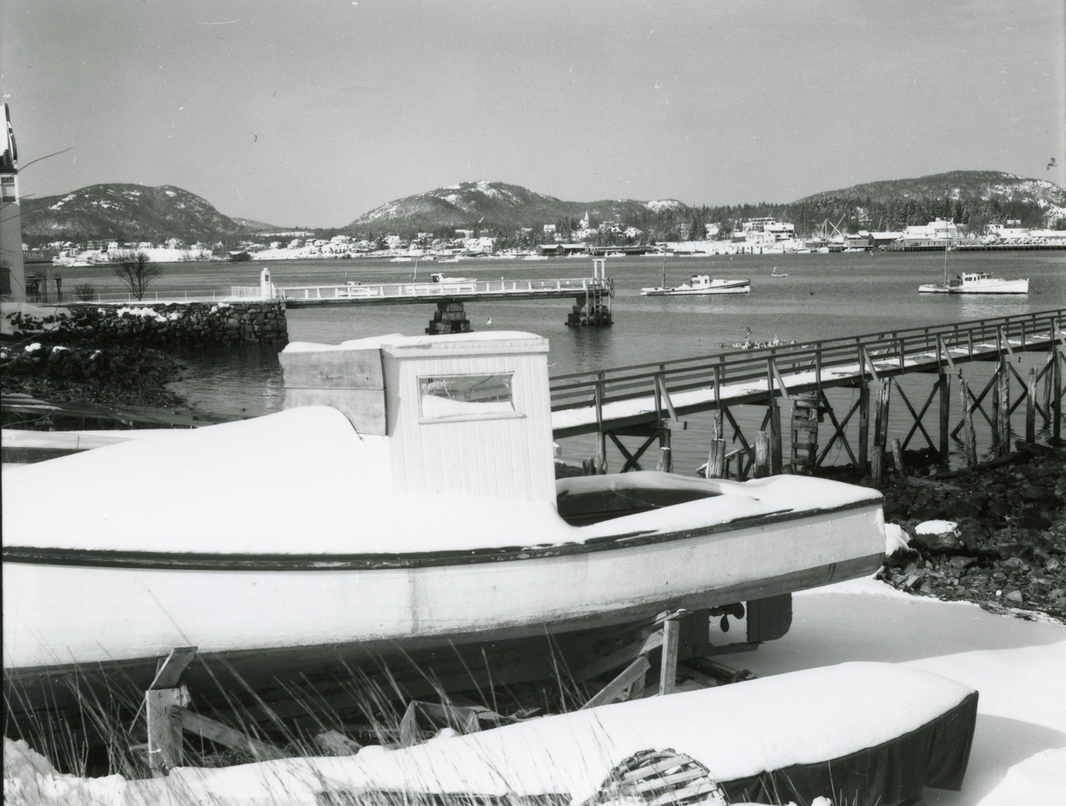 Winter View of Southwest Harbor and Clark Point from Manset