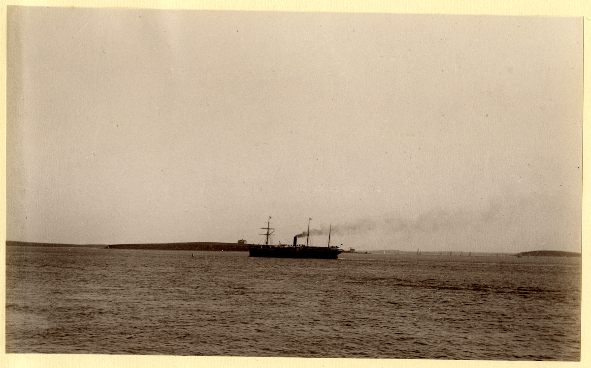 Foreign Steamship in Boston Harbor