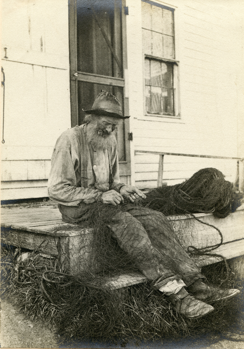 """William """"Bill"""" Horace Herrick at His Shack on Clark Point Road"""