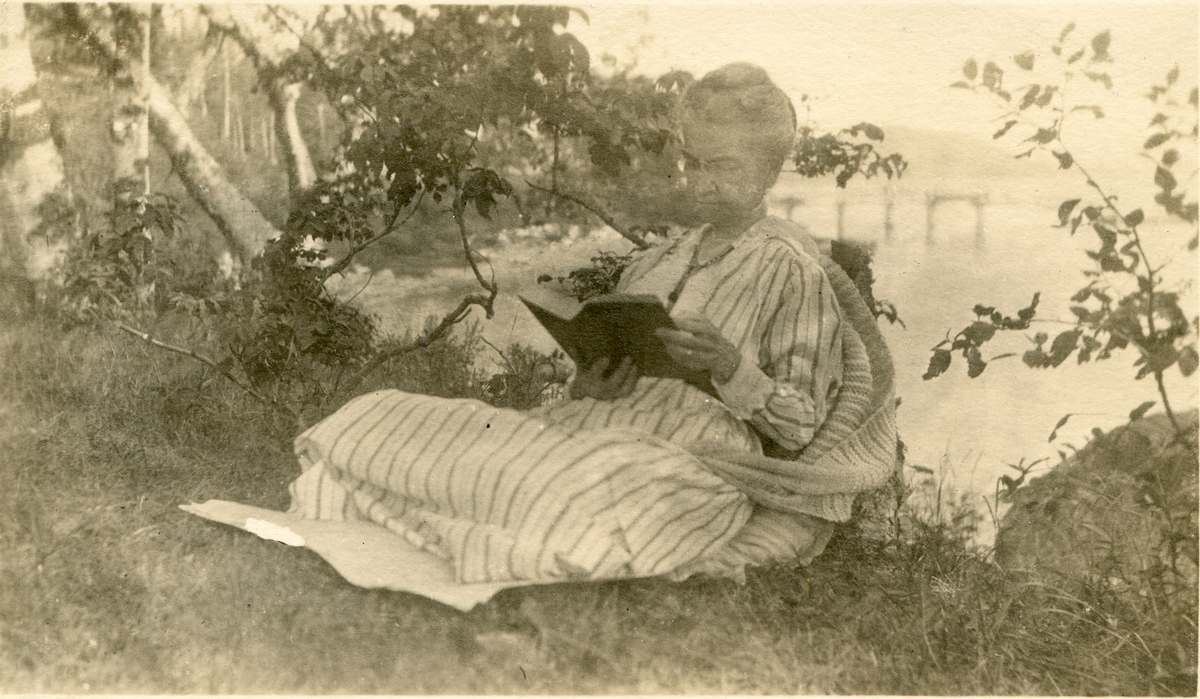 Ann Clarbour (Tagg) Buckman Reading on the Shore at the Claremont House