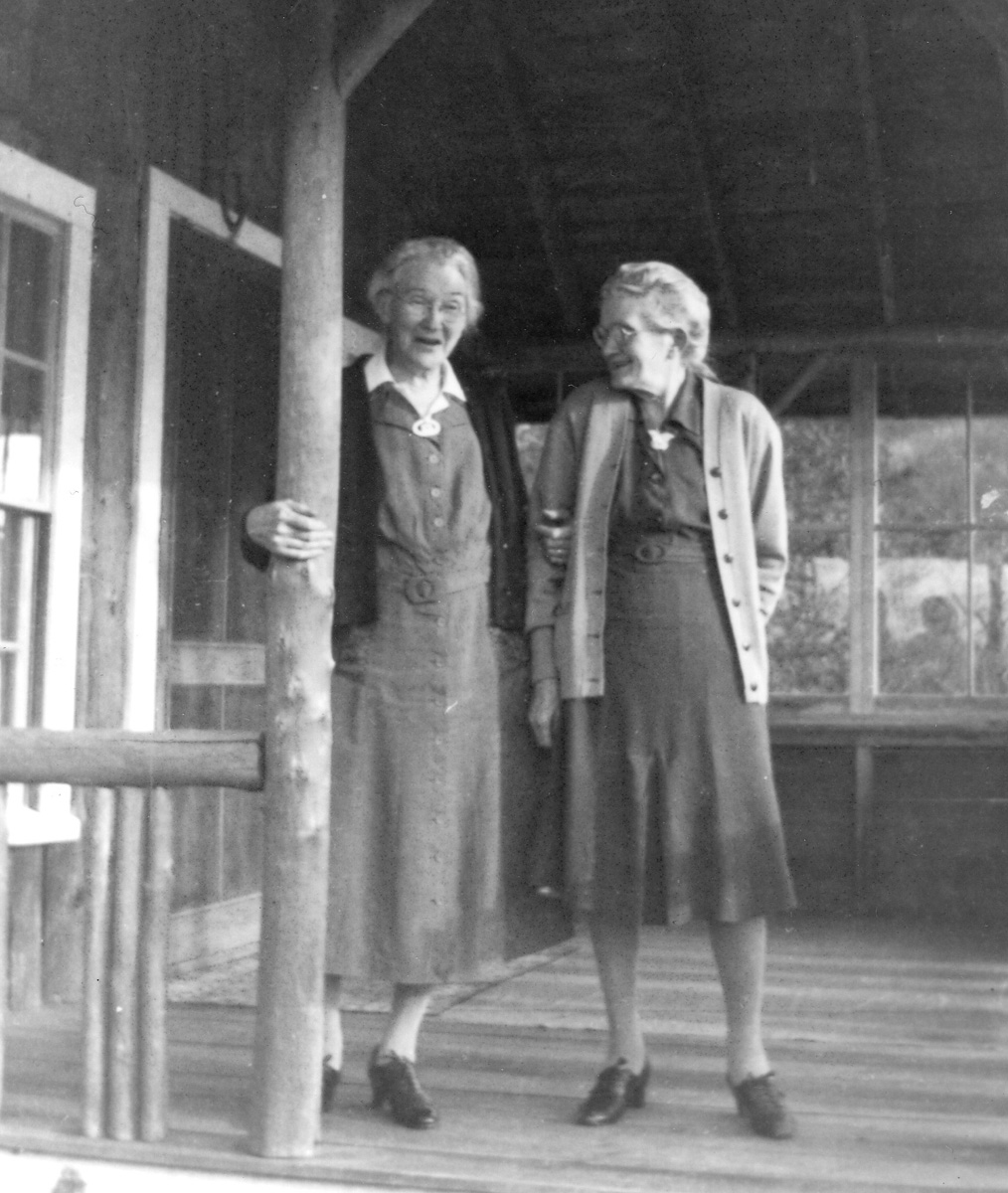 Gladys Ella Whitmore and Unknown Lady at Gladys' Cabin at Ike's Point on Echo Lake