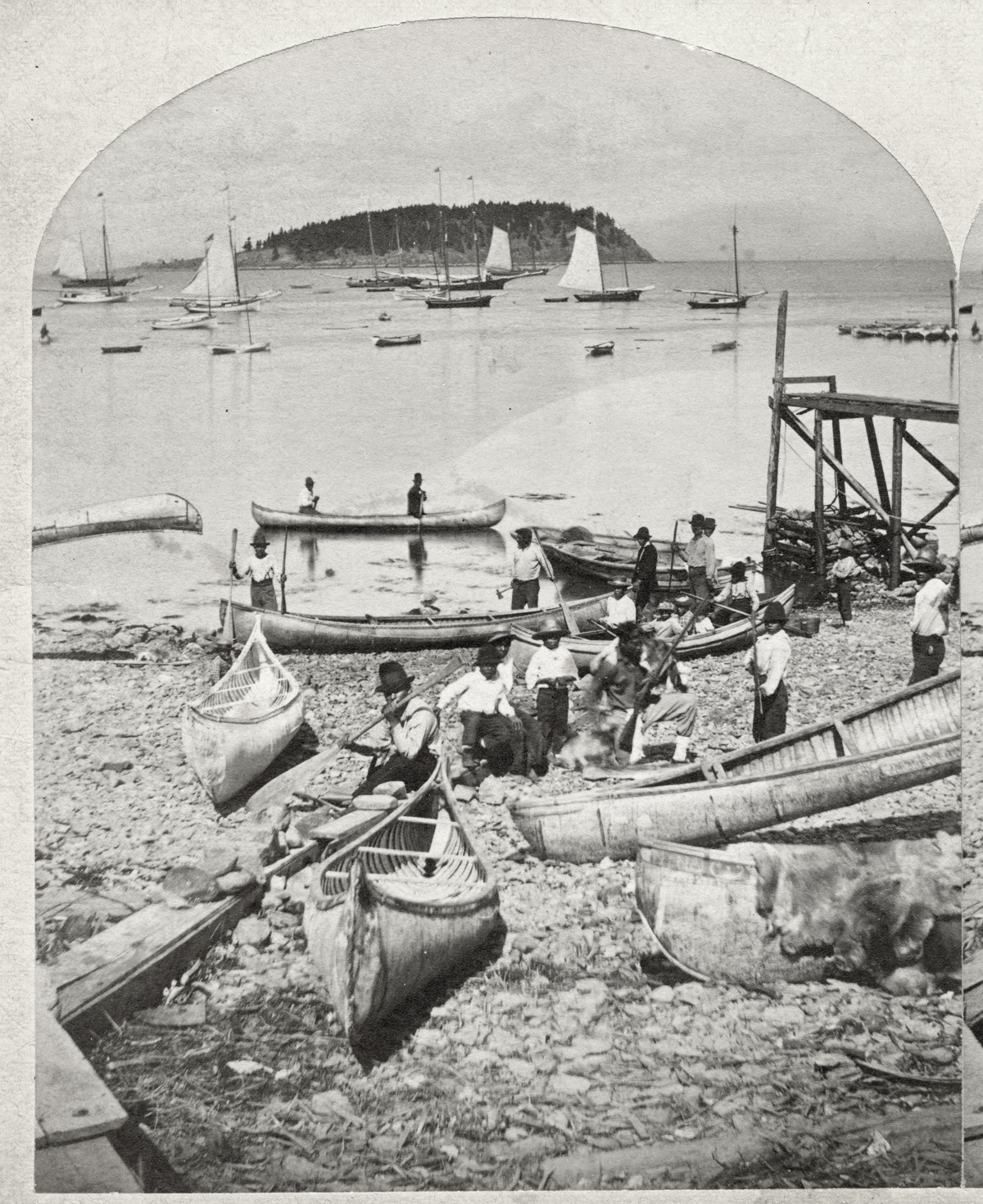 Indians and Canoes on the Shore at Bar Harbor