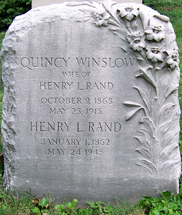 Gravestone of Henry Lathrop and Marion Quincy Winslow Rand