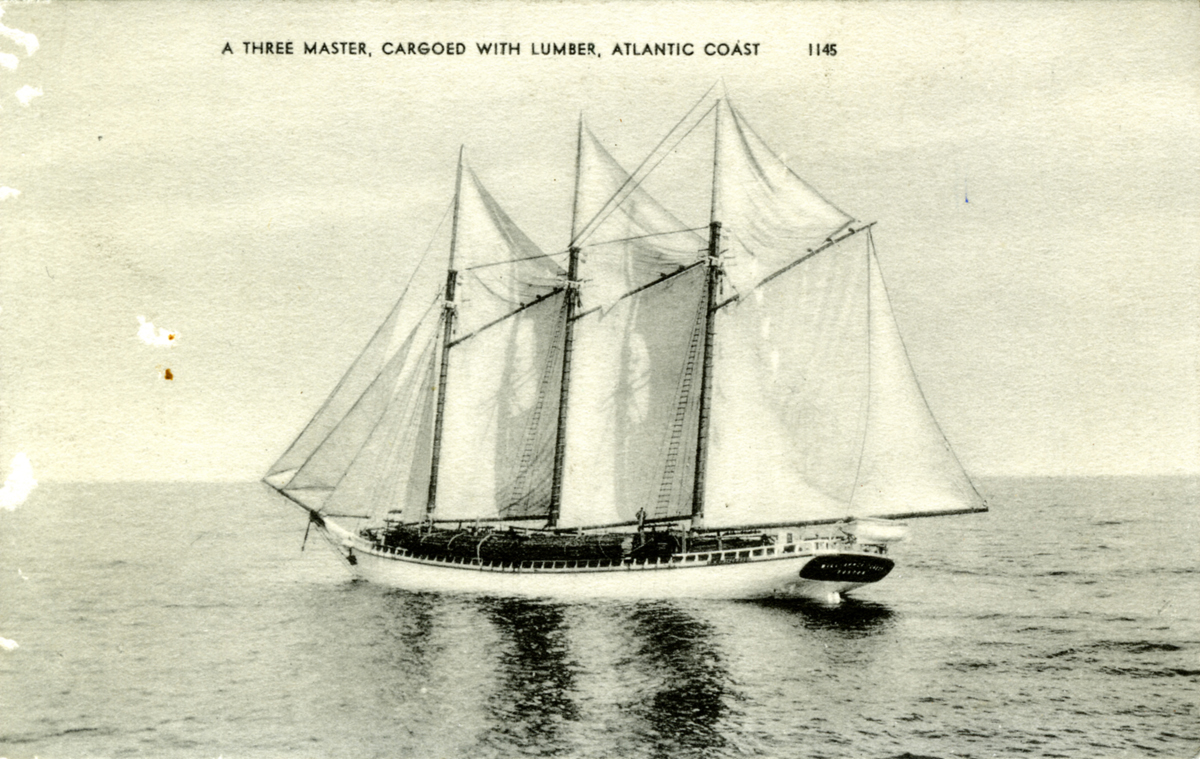 Three Masted Cargo Schooner with a Load of Lumber