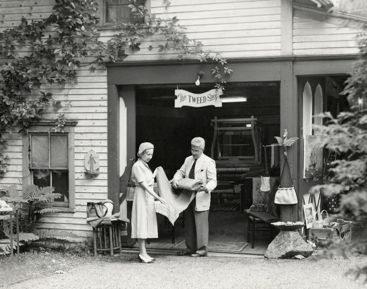 Vera Somerville and William John Ritchie at The Tweed Shop, Southwest Harbor, Maine