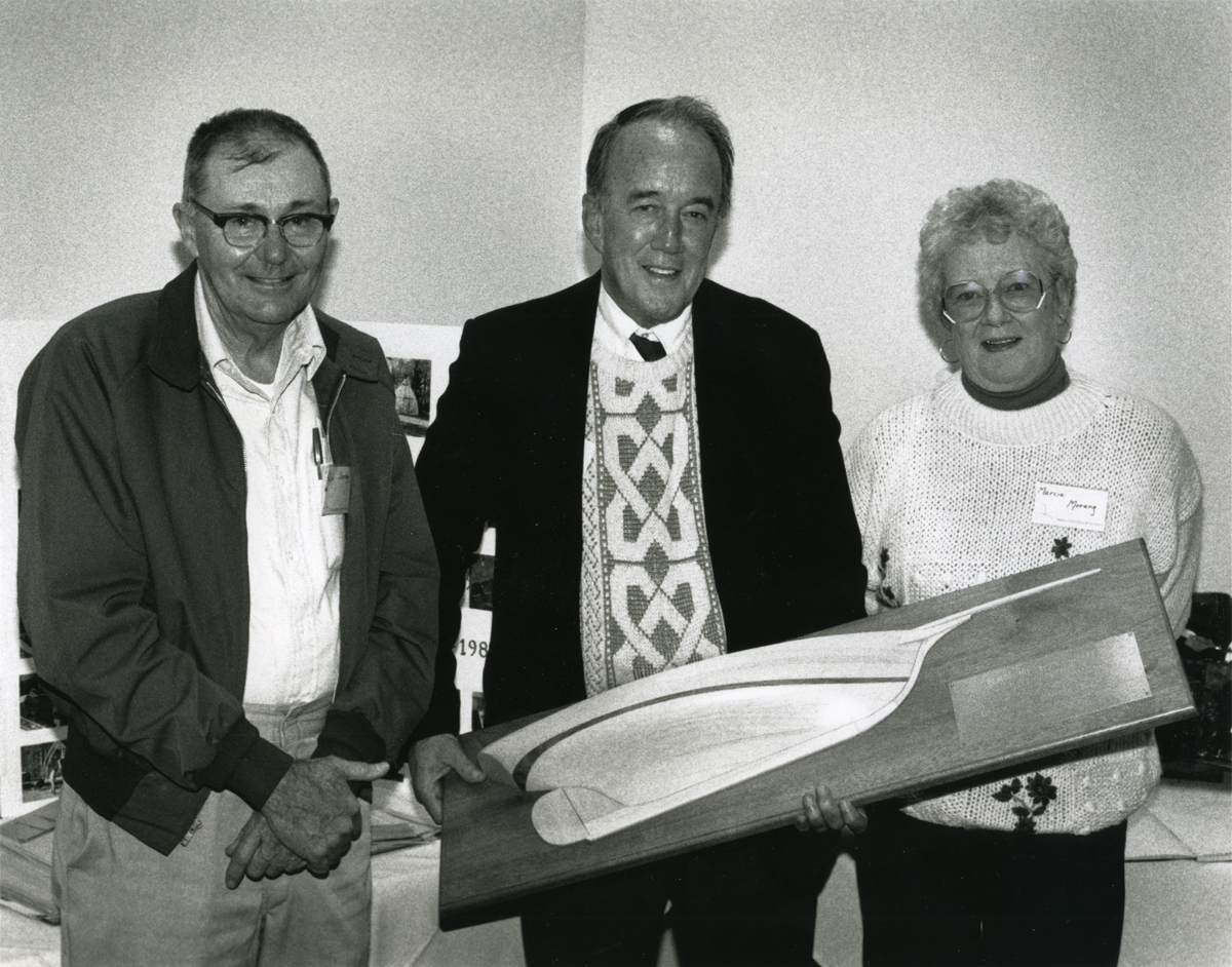 Ralph Warren Stanley Presenting a Half-Model of a Friendship Sloop to Bruce Noble Morang and Marcia (Vannah) Morang