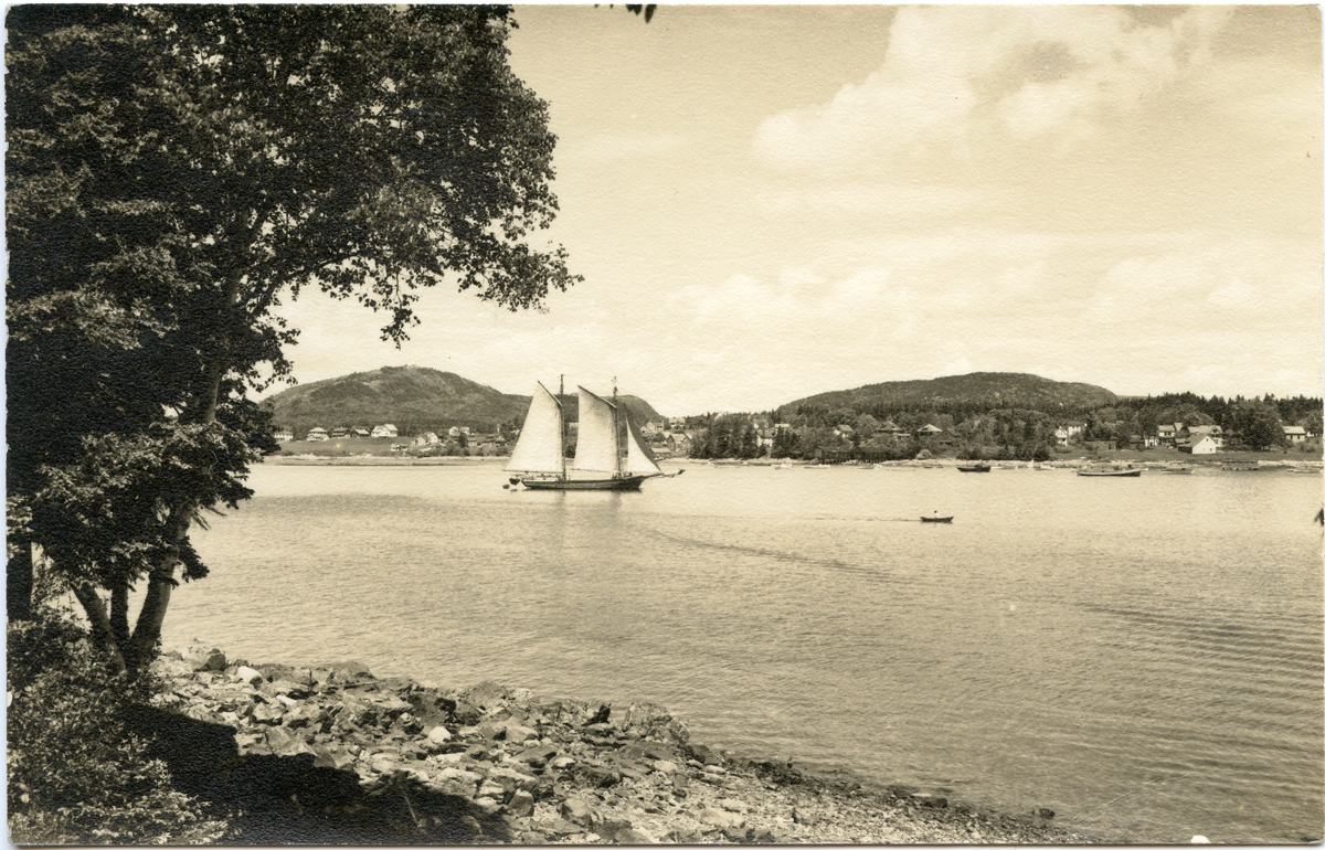 Unknown Schooner against Beech Cliff and Saint Sauveur at the Head of the Harbor