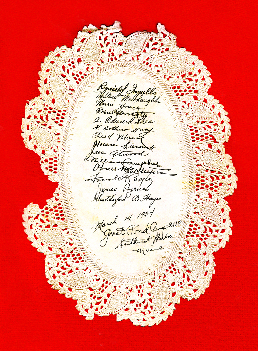 Dinner Doily Signed by Officers and Guests at Great Pond CCC Camp