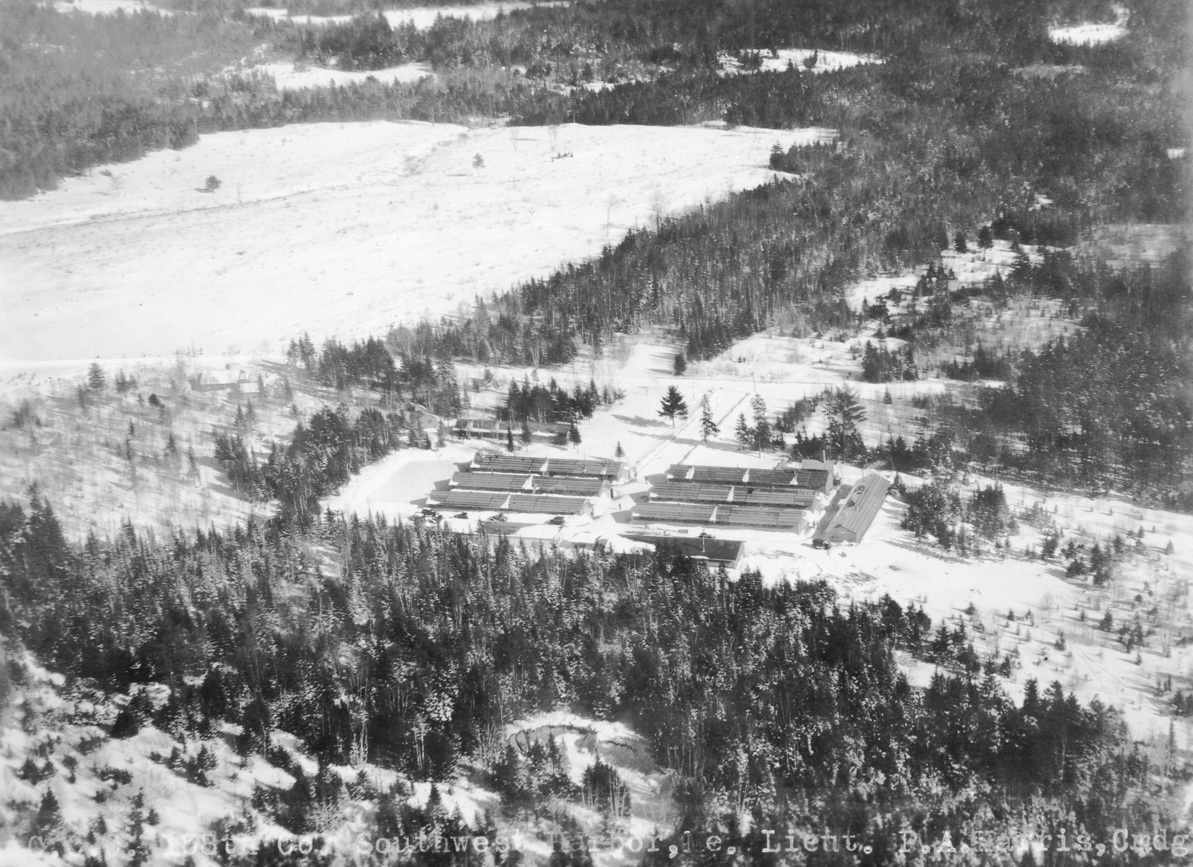Aerial View of Great Pond Camp in Winter