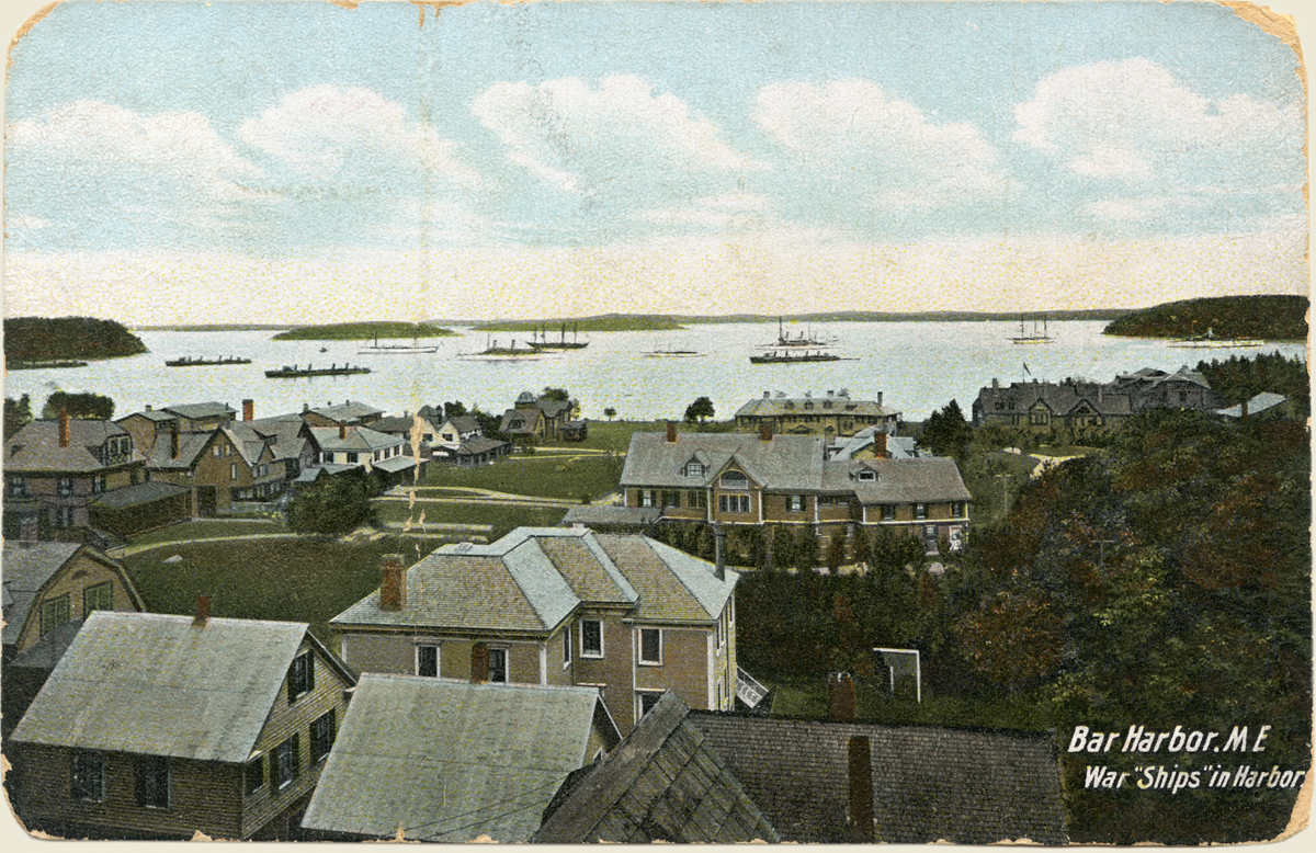 "View of War ""Ships"" in Harbor, Bar Harbor, Maine"