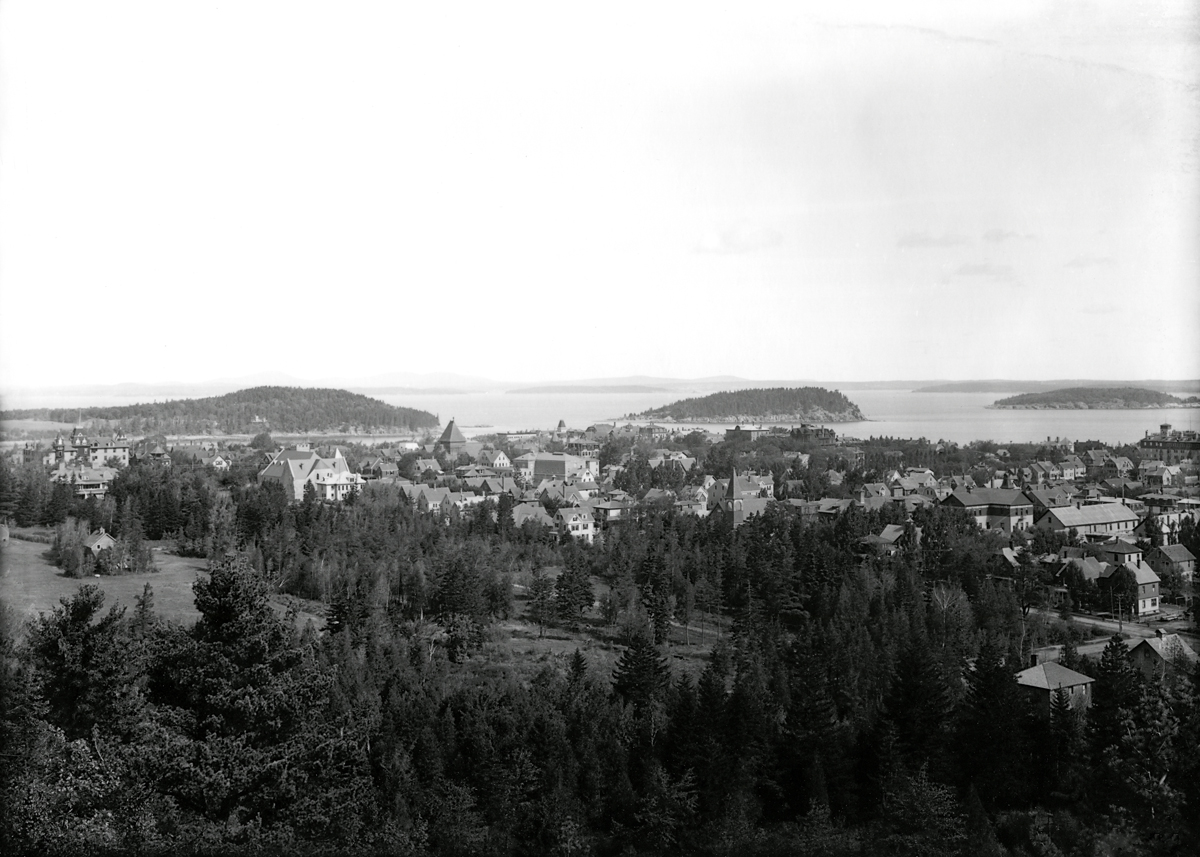 View of Bar Harbor from Schoolhouse Hill - Bar Island and the Porcupine Islands